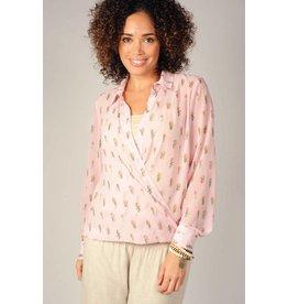 Ivy & Jane 650065 Pk Cactus Button Drape LS Shirt (L)
