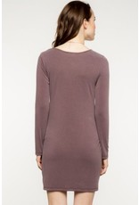 Everly L/S Front Knot Dress