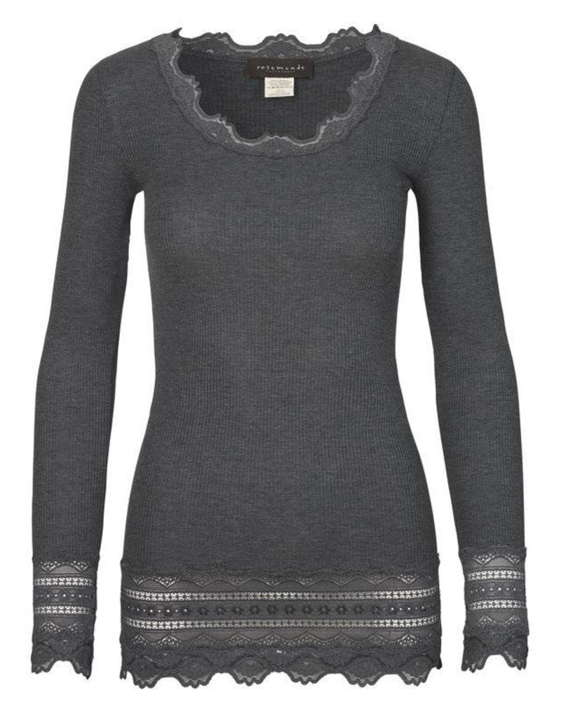 Rosemunde L/S Fitted Lace Trimmed Blouse
