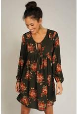 Ivy & Jane Floral V-Neck Dress w/Gathered Underbust