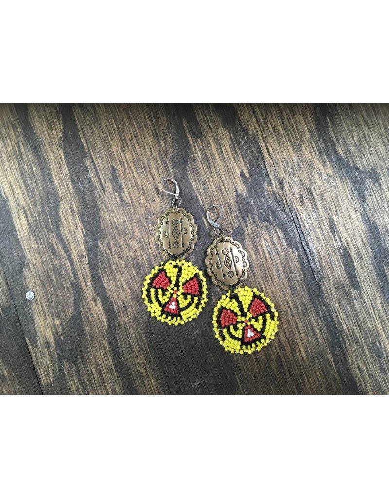 Concho & Yellow Bead Medallion Earrings