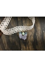 Crochet & Leather Choker w/Amethyst