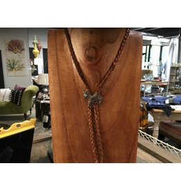 Braided Leather w/Vintage Donkey Lariat
