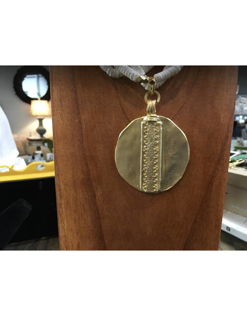 Holly Zaves 3 Strand White Spiney Oyster w/Gold Medallion