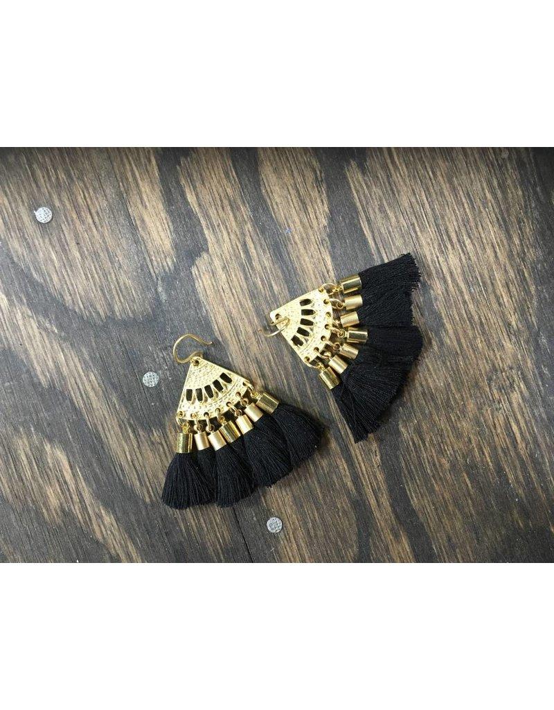Holly Zaves Black and Gold Tassel Earrings