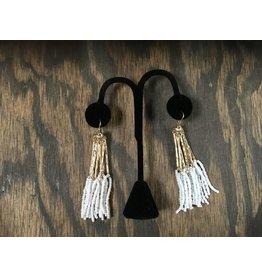 White/Gold Beaded Tassel Earrings
