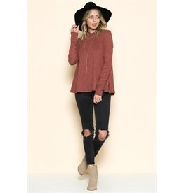 BY TOGETHER L/S Reverse Stitch Swing Top