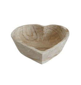 Creative Co-Op Heart Shaped Acacia Wood Bowl