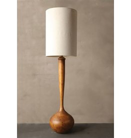 "Creative Co-Op Oak Wood Floor Lamp w/Linen Shade (65.5""H)"