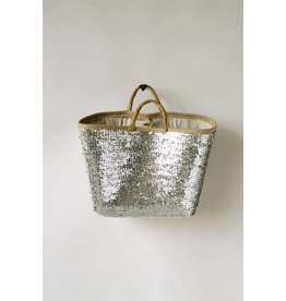 Creative Co-Op Seagrass Woven Silver Sequin Basket