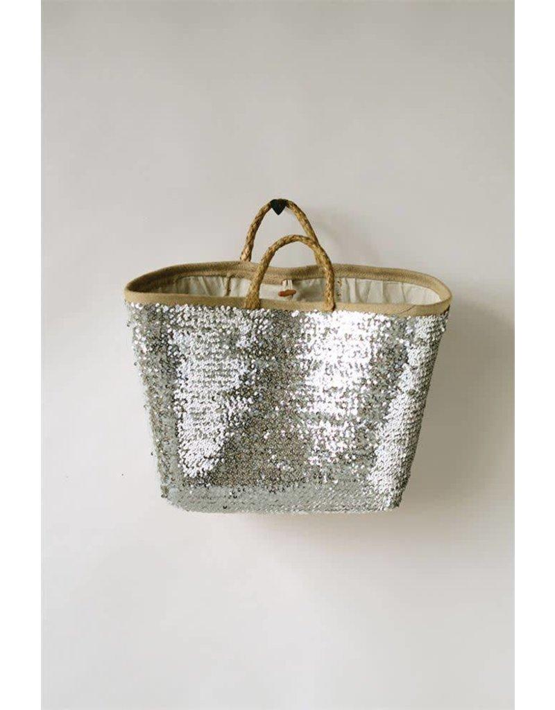 Creative Co-Op Seagrass Woven Silver Sequin Basket