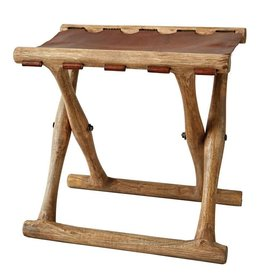 Creative Co-Op Mango Wood & Leather Folding Stool