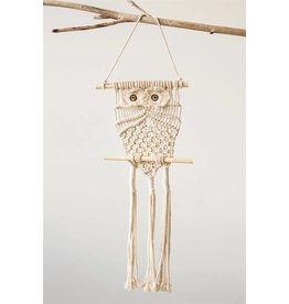 Creative Co-Op Cotton Macrame Owl Wall Hanging
