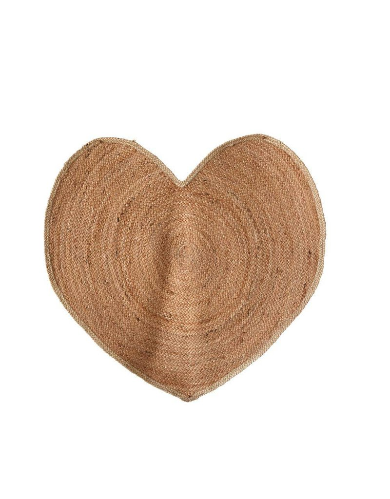 Creative Co-Op Jute Hand-Woven Heart Shaped Rug