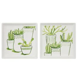 "Creative Co-Op 6"" Square Plate w/Cacti"