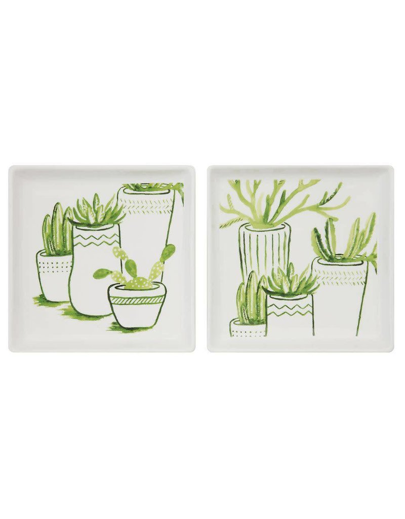 """Creative Co-Op 6"""" Square Plate w/Cacti"""