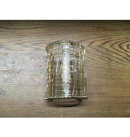 """3"""" Gold Wire Cuff w/Crystal"""