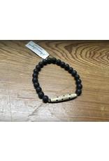 Men's Blk Onyx/Bone Bracelet