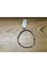 Men's Brown/Wht Bracelet w/Copper Bar