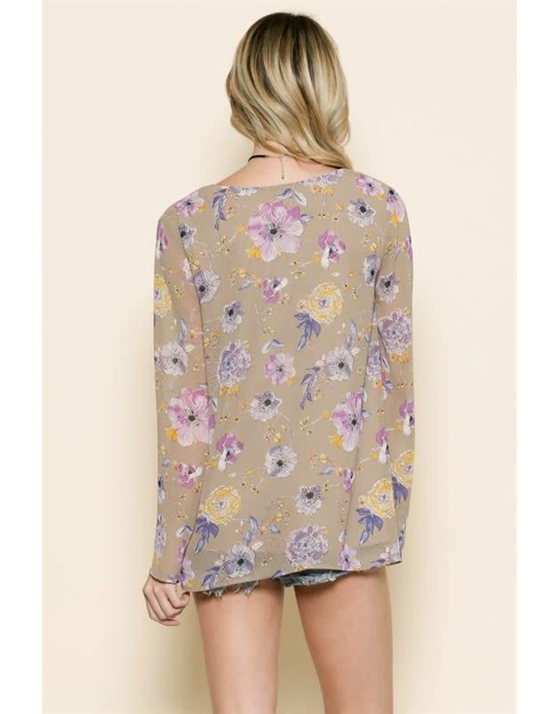 BY TOGETHER Floral Bell Sleeve L/S Chiffon Blouse