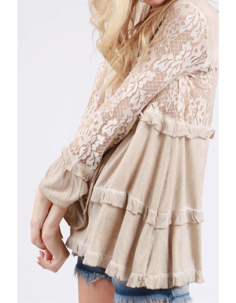 POL Clothing Lace Paneled L/S w/Flare Sleeve