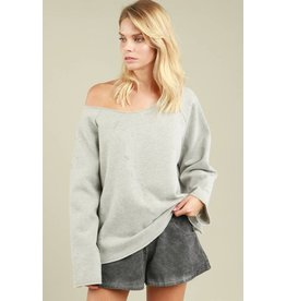 POL Clothing Off Shoulder French Terry Sweater w/Raw Edge