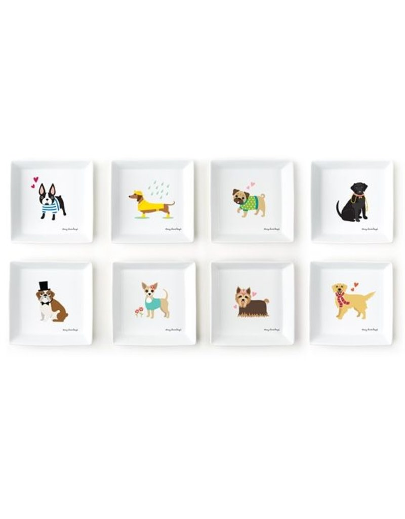 Two's Company Kennel Club Square Plates