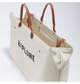 Two's Company Large Canvas Tote w/Leather Handles/Strap