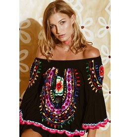 Ruby Ya Ya Bellagio Colorful Embroidered Dress