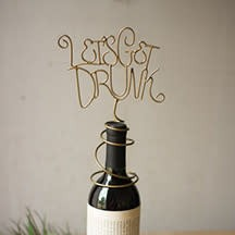 Kalalou Wire Wine Topper w/Various Sayings