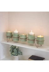 Kalalou 5 Green Clay Candle/Planters w/ Copper Base