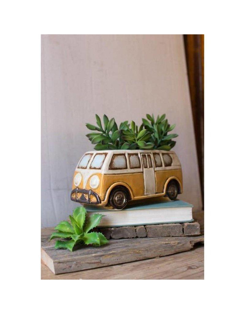 Kalalou Ceramic Yellow Van Planter