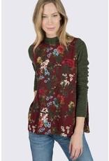 Ivy & Jane Floral Knit Slv w/Gathered Back & Side