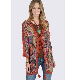 Ivy & Jane Floral Kimono w/Crochet Trim