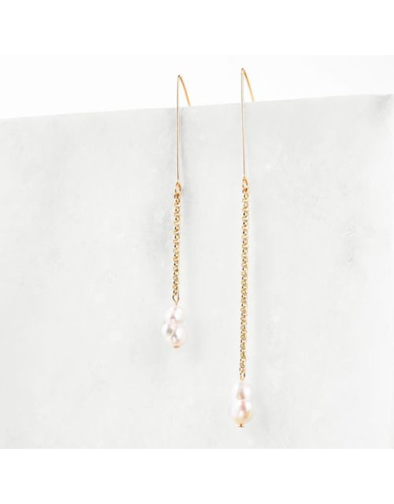 B Stellar Nora Asymmetrical 14k Gld Earrings