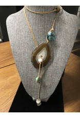 Tres Chicas Sliced Agate Bolo w/Jasper Drop