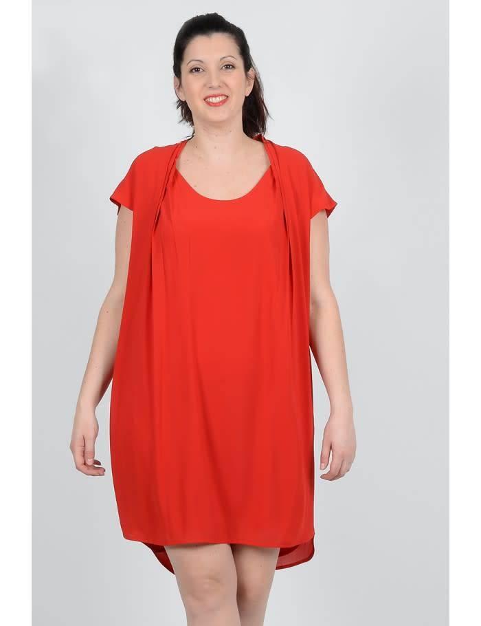 Molly Bracken Scoop Neck Cap Sleeve Box Pleat Dress
