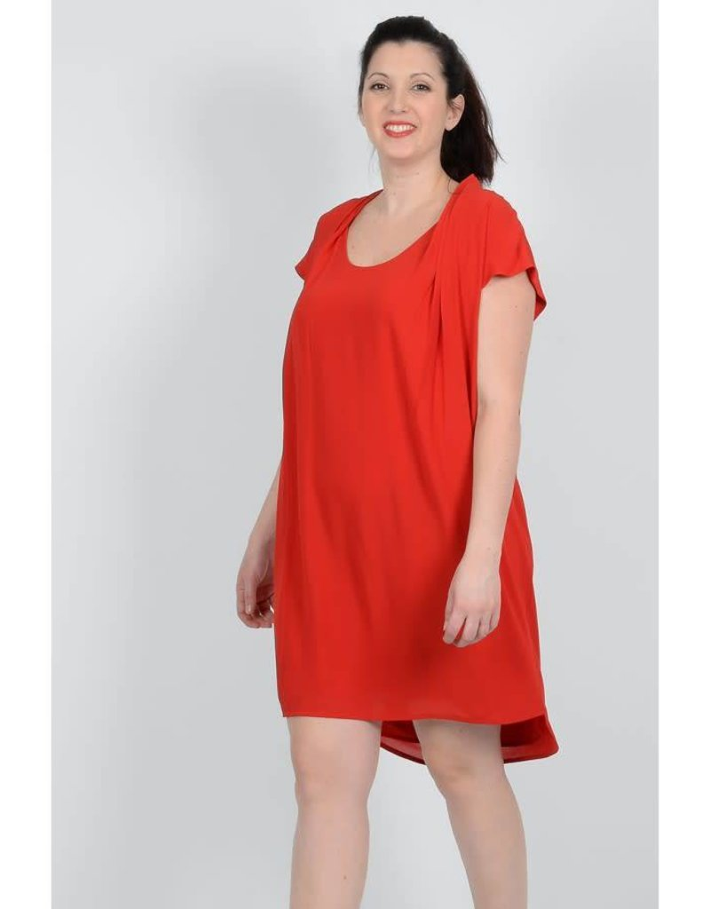 Molly Bracken Scoop Neck Cap Sleeve Box Pleat Dress