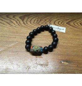 Matte Black Stretch Bracelet w/Painted Bead