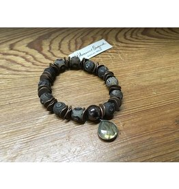 Brown Spotted Agate Stretch w/Lab Charm