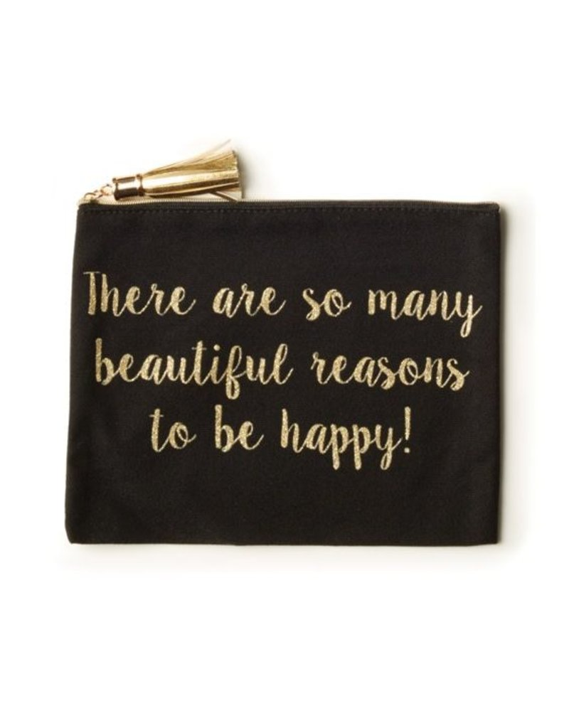 Two's Company Blk & Gold Glitter Pouch