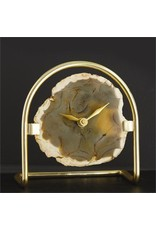 Two's Company Agate Table Clock w/Gold Stand