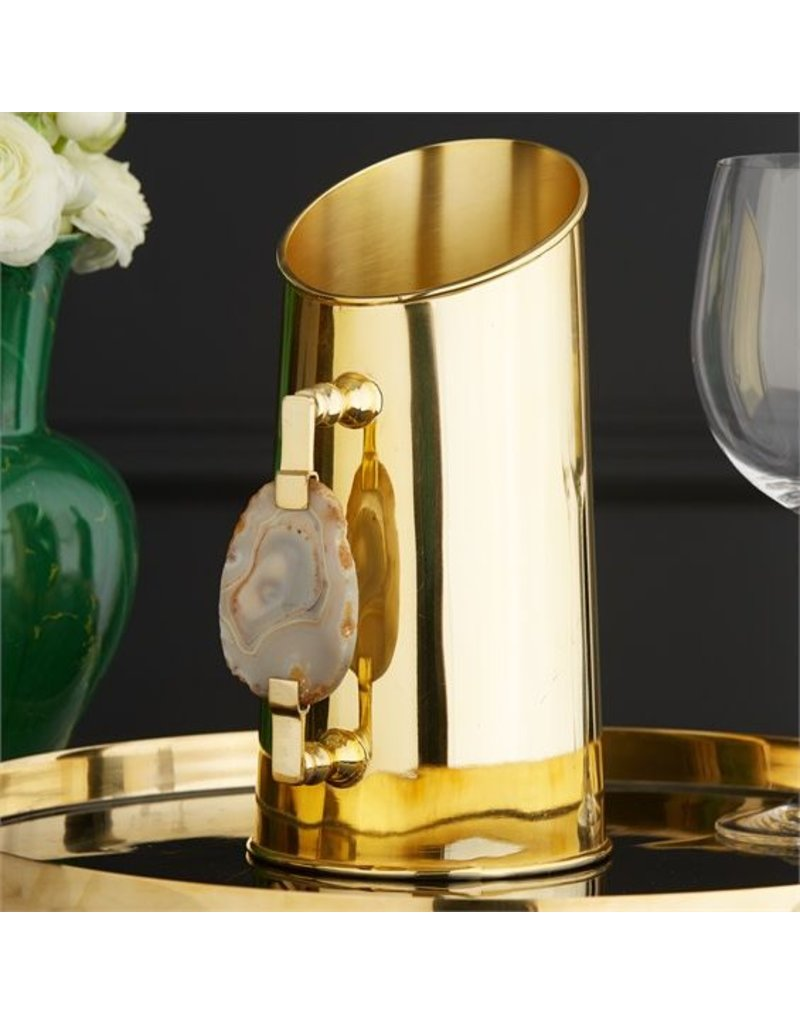 Two's Company Gold Metal Pitcher w/Agate Handle