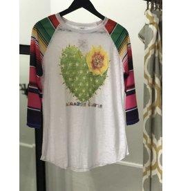 Bling A GoGo Cactus Heart Tee w/ Serape Sleeve M