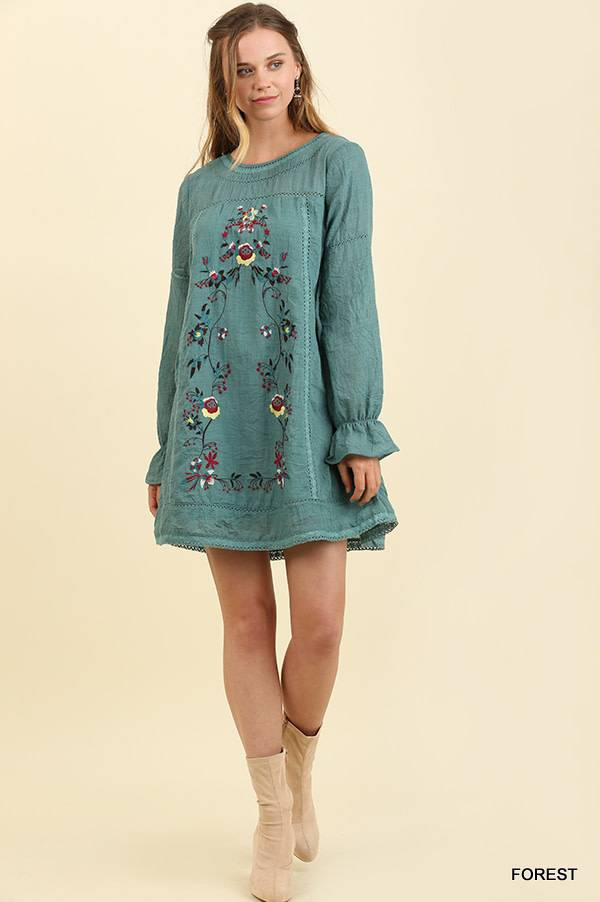 Umgee Floral Embroidered L/S Dress