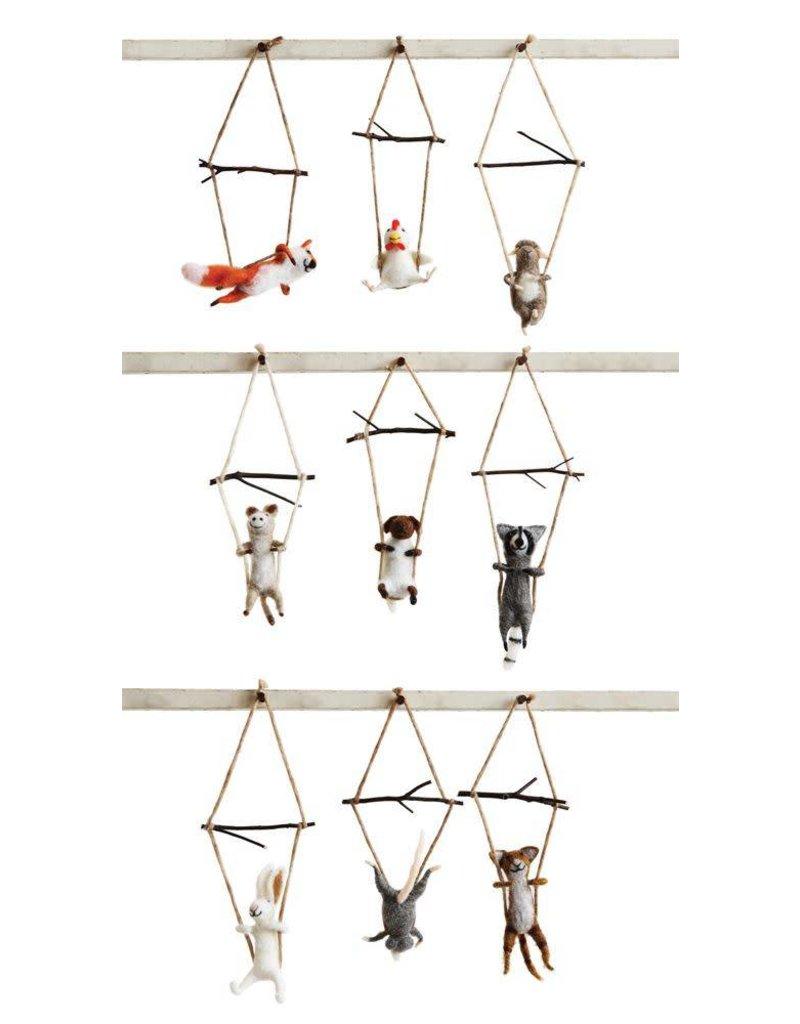 Creative Co-Op Wool Animal on Trapeze
