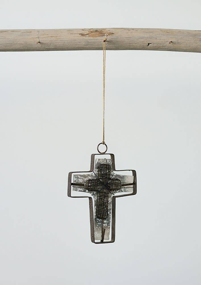 Creative Co-Op Antique Mercury Glass and Metal Hanging Cross
