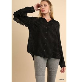 Umgee Striped L/S Button Down Blouse w/Ruffle Details
