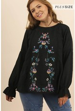 Umgee Floral Emb L/S Blouse w/Ruffle Elastic Wrists