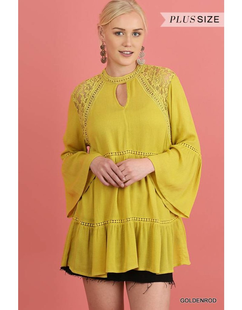Umgee Bell Sleeve Floral Lace Blouse